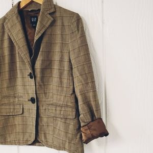 NWOT GAP, plaid, equestrian style, blazer, brown,